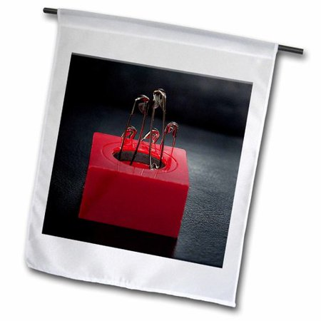 Image of 3dRose Safety Pins Standing on a Magnetic Box Polyester 1'6'' x 1' Garden Flag