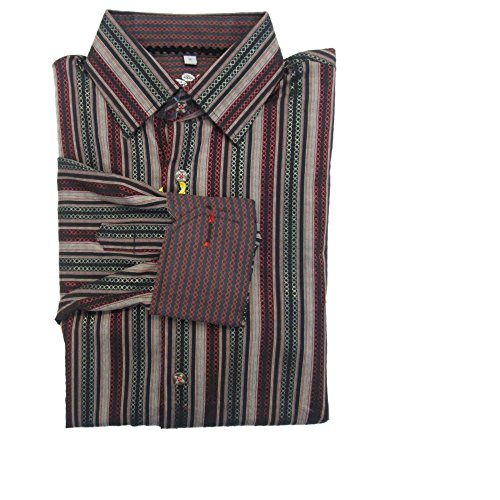 Visconti Men's Multi-Color Striped Geometric Print Button-Down Shirt Small NWT