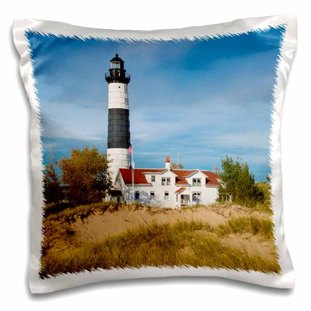 - 3dRose Big Sable Point Lighthouse, Lake Michigan, Ludington, Michigan - Pillow Case, 16 by 16-inch