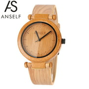 Anself Fashion Natural Bamboo Wooden Wristwatch 3ATM Water Resistant Simplicity Trendy Unisex Watch for Wedding Anniversary