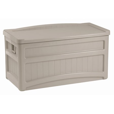 Suncast 73 Gallon Light Taupe Resin Storage Seat Deck Box With Wheels Db7500