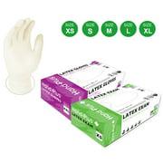 100 Latex White Gloves Powder Free Examination Gloves - Size XS