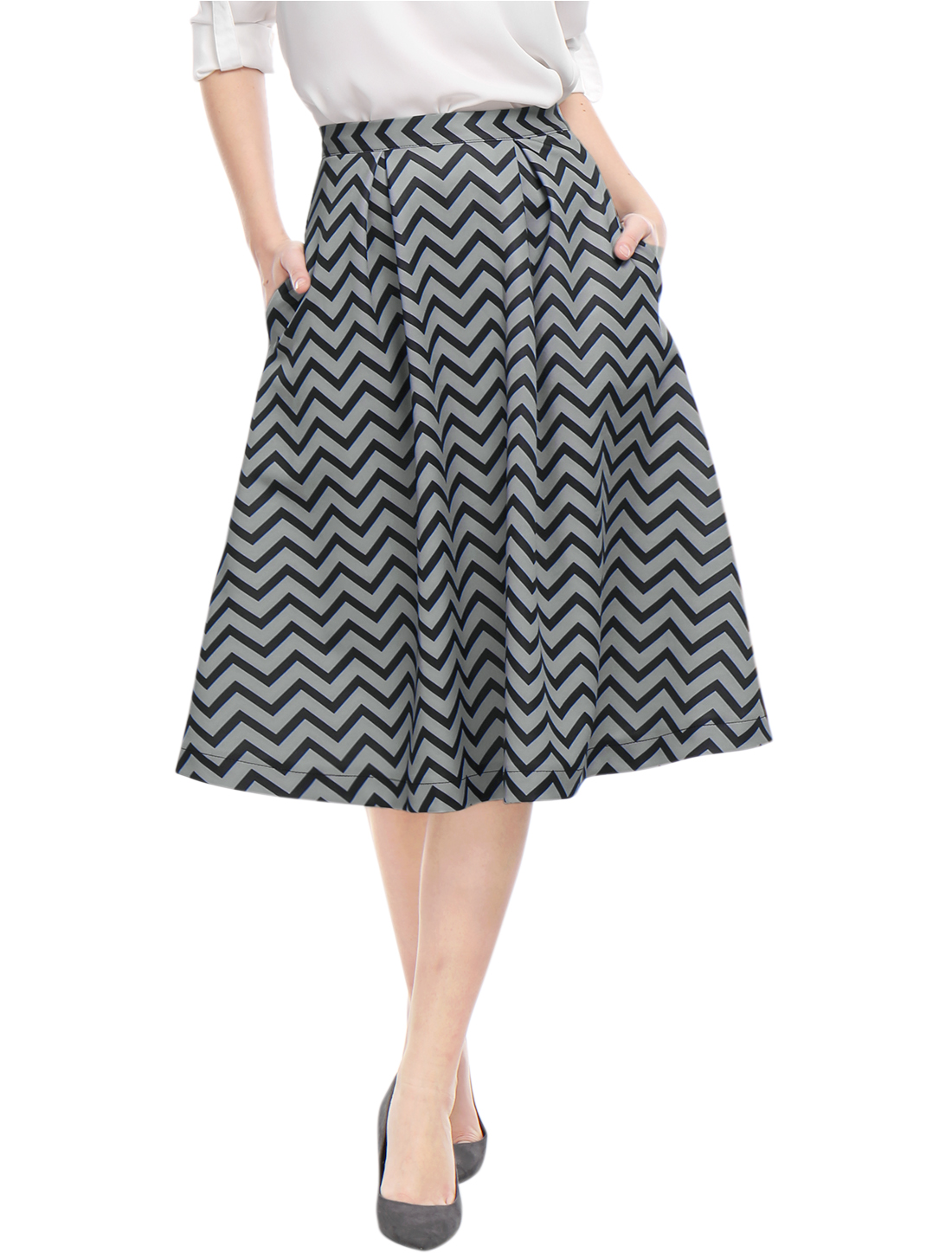 Unique Bargains Women's Zig-Zag Pattern High Waist Pockets Full Midi Skirt Gray (Size L / 14)