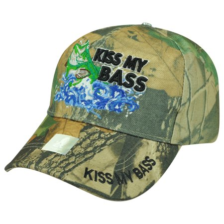 Kiss My Bass Fishing Fish  Outdoors Sport Hat Cap Camping Camp Camouflage - Fish Hat