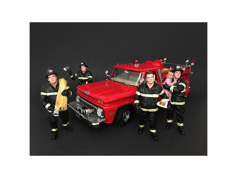 Firefighters 4 Piece Figure Set For 1:24 Scale Models by American Diorama by American Diorama