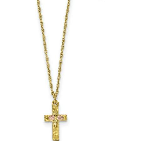 10k Yellow Gold Tri-Color Black Hills Cross Necklace Black Hills Gold Green Cross