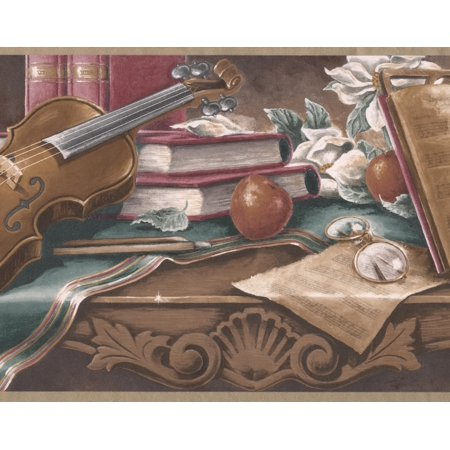 Vintage Musician Table - Violin Music Notebook Glasses Candles Wide Wallpaper Border Retro Design, Roll 15' x 9'' ()