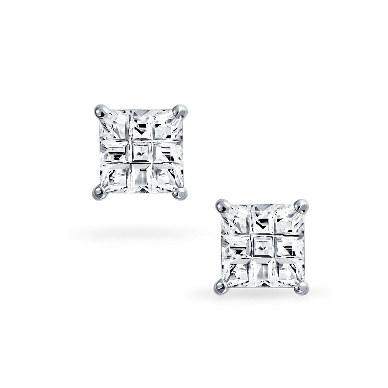 Princess Cut Square CZ Basket Set Sterling Silver Stud Earrings 10mm