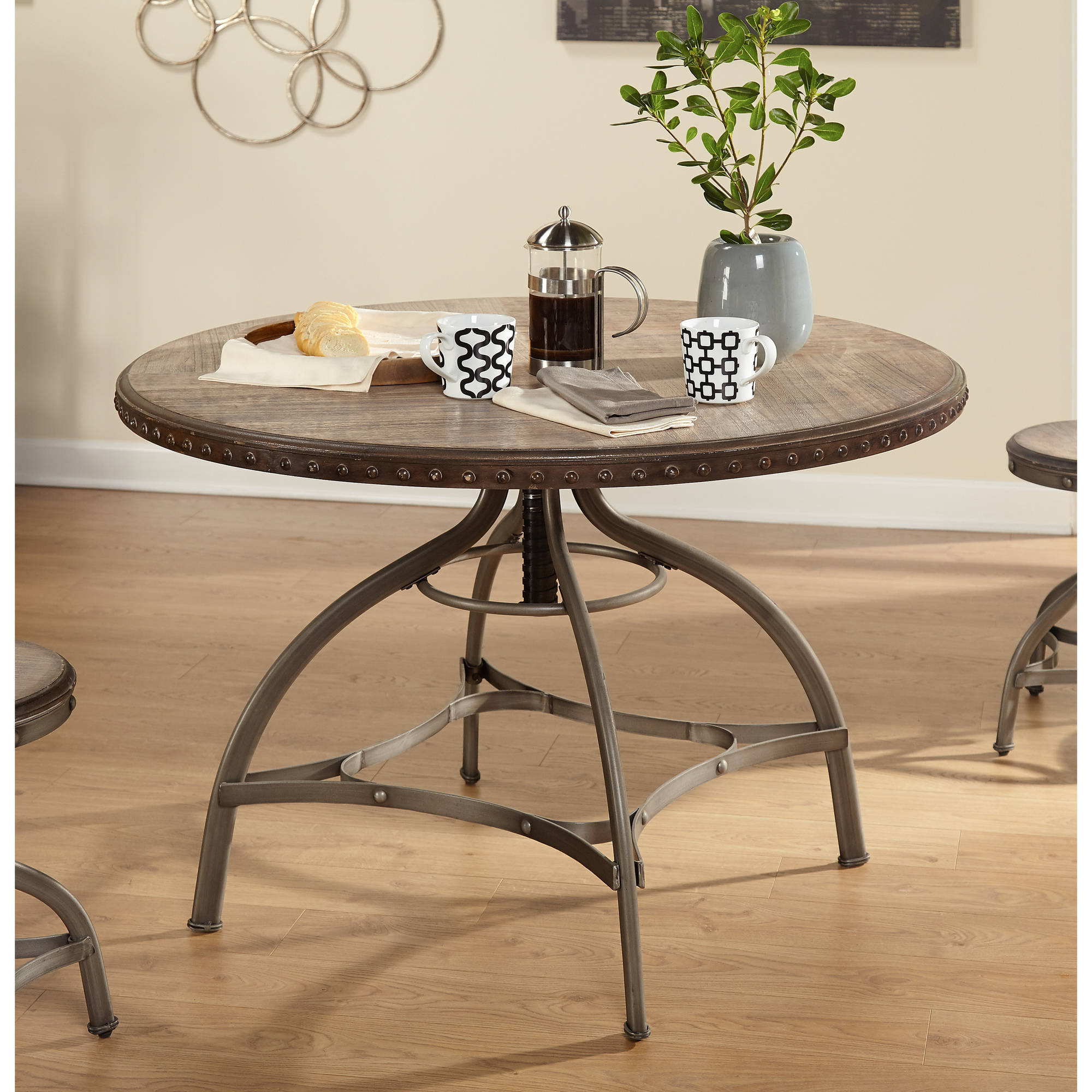 Decker Adjustable Height Dining Table With Nailhead