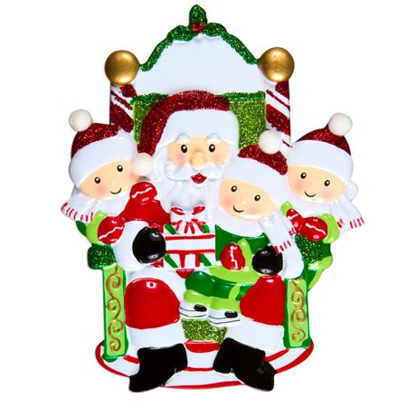 Three Child On Santas Lap Personalized Christmas Ornament Do It Yourself