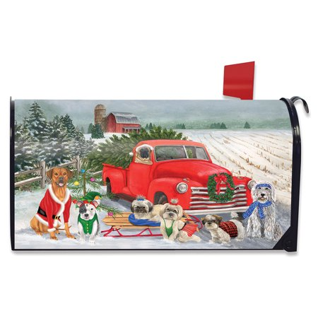 Holiday Dogs Christmas Magnetic Mailbox Cover Pickup Truck Humor Standard ()
