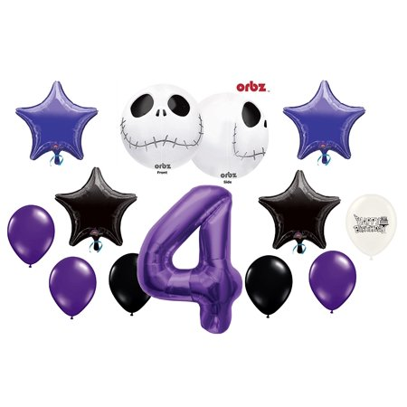4th Birthday Party Jack Skellington Nightmare Before Christmas Balloon Bouquet](Union Jack Balloons)