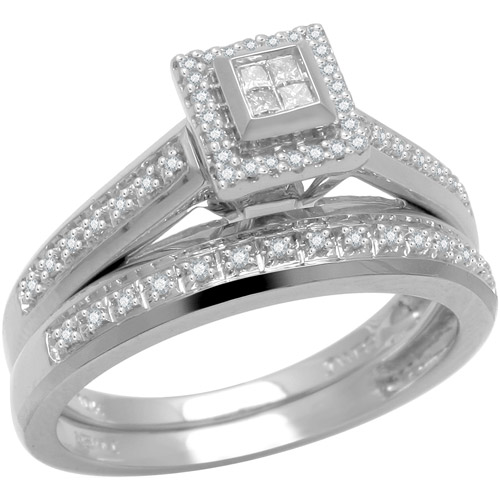 1/5 Carat T.W. Princess and Round Diamond 10kt White Gold Bridal Set
