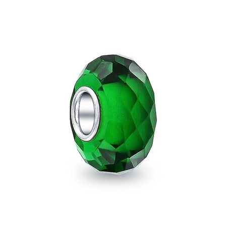 Bling Jewelry  Green Faceted Crystal Simulated Emerald glass Charm Bead .925 Sterling silver