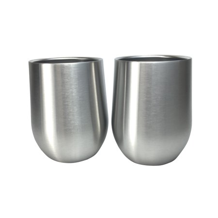 Stainless steel stemless wine glasses set of 2 double walled insulated lowball tumbler 11 oz - Insulated stemless wine glasses ...