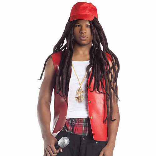 Hip Hop Star with Hat Wig Halloween Accessory
