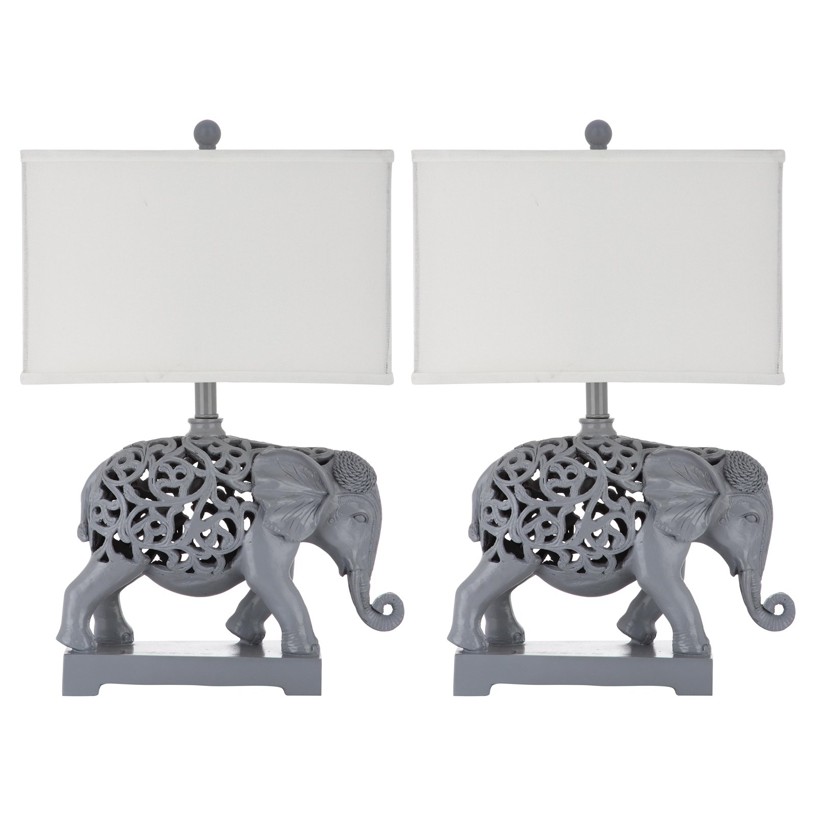 Safavieh Hathi Sculpture Table Lamp with CFL Bulb, Light Grey with Off-White Shade, Set of 2