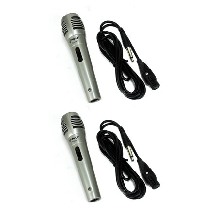 Pyle PDMIK1 Professional Moving Coil Dynamic Handheld Microphone + Cable (Pair)