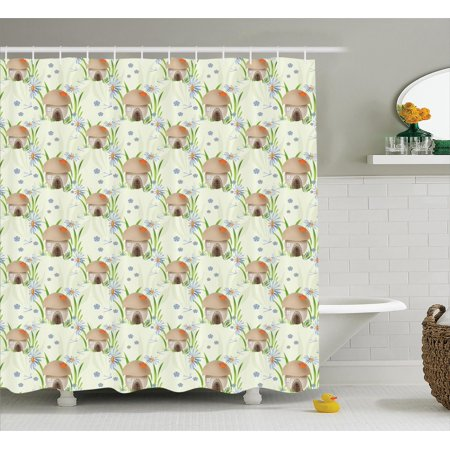 - Mushroom Decor Shower Curtain Set, Mushroom House Kids Home Happy Fantasy Flower Veggies Grass Vegetarian, Bathroom Accessories, 69W X 70L Inches, By Ambesonne