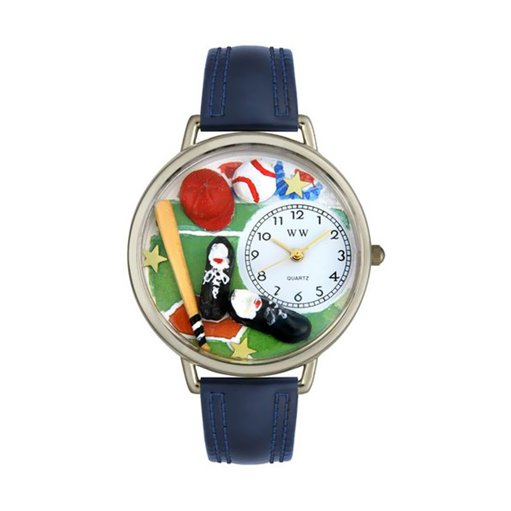 Whimsical Baseball Navy Blue Leather And Silvertone Watch