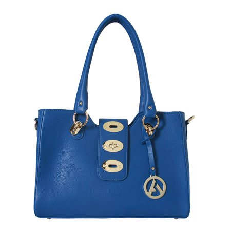 "Womens Designer ""Elise"" Tote Shoulder Handbag with Adjustable Lock - Blue - image 2 de 2"