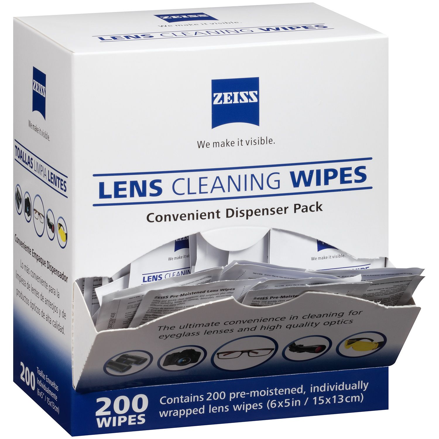 Zeiss Pre-Moistened Lens Cloths Wipes 200 Ct, Glasses Camera Cleaning, New