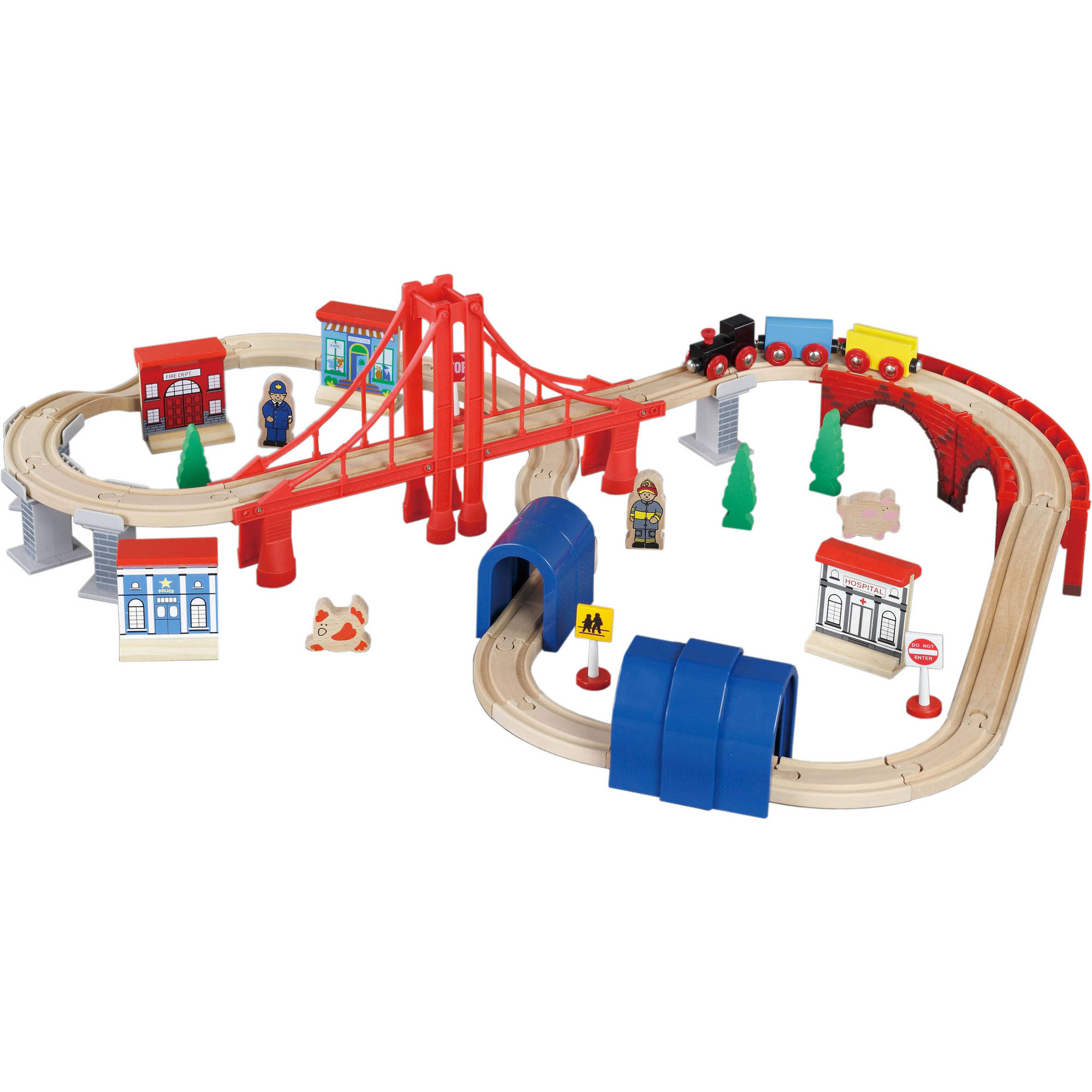 Bridge & Tunnel Wooden Train Set, 60 pieces