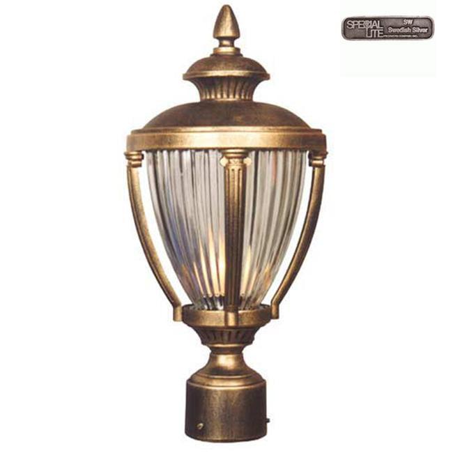 Hampton Large Post Mount Light w Ribbed Crystal Glass (Swedish Silver)