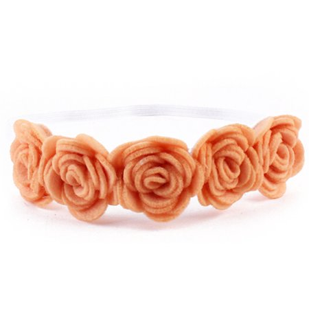 StylesILove Baby Girl Rose Flower Candy Color Headband with Ribbon (2 Pack, Orange) ()