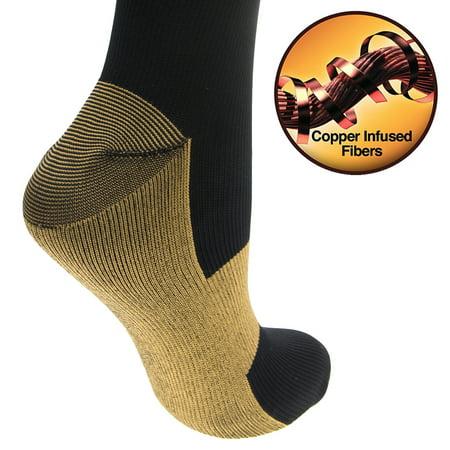 Compression Baseball Socks - 4 Pairs Copper-Infused Anti-Fatigue Compression Knee-High Health Socks Men Women