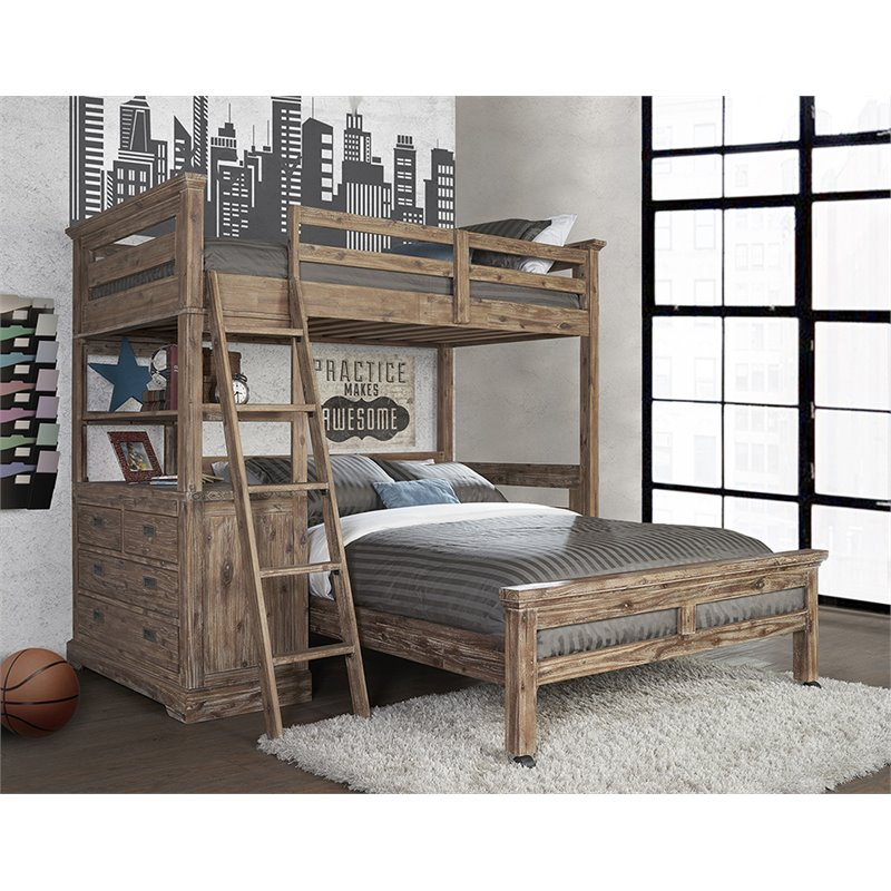 NE Kids Oxford Oliver Twin Loft Bed with Full Lower Bed in Cocoa