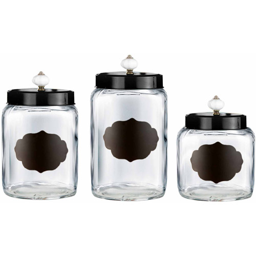 Glass Canisters with Black Lids, Set of 3