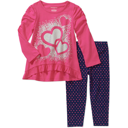 Healthtex Baby Girls' Ruffle Graphic Tunic and Printed Legging Set