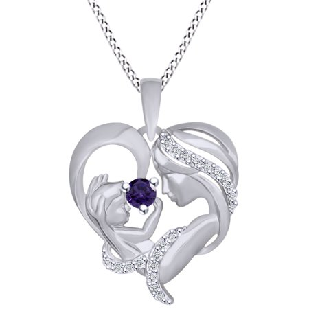 Round Cut Simulated Alexandrite & White Cubic Zirconia Mom With Child Heart Pendant Necklace In 14k White Gold Over Sterling Silver