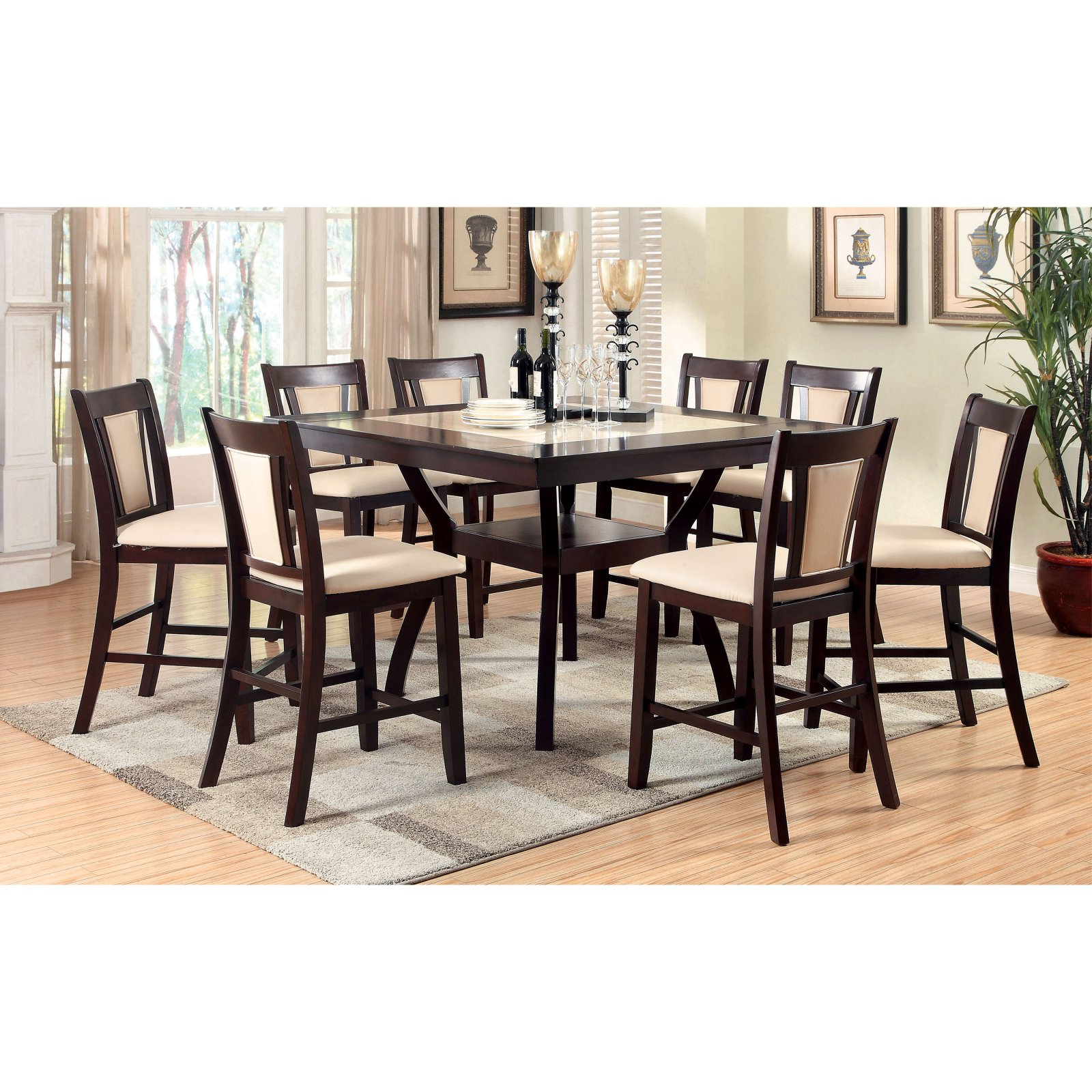 Furniture of America Mullican Counter Height Display Top Dining Table - Dark Cherry & Ivory