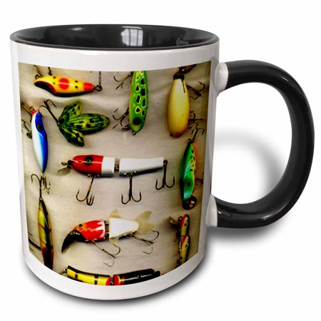 Old Lures (3dRose Old Lures Fishing - Two Tone Black Mug, 11-ounce )