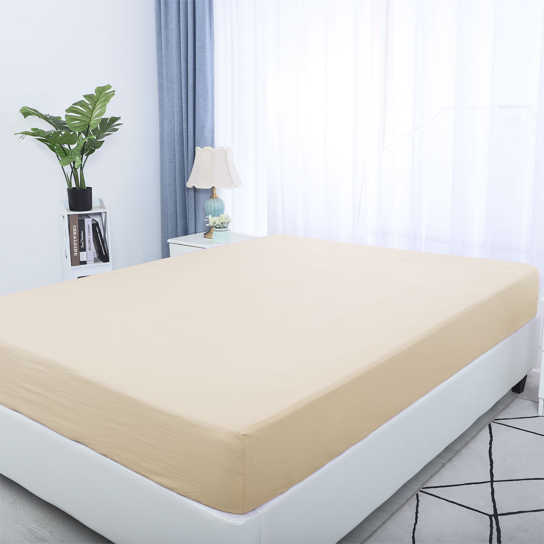 """PiccoCasa Washed Cotton 15"""" Deep Pocket Fitted Sheet for Twin Bed"""