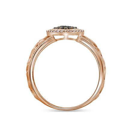 10kt Rose Gold Womens Round Brown Color Enhanced Diamond Heart Ring 1/4 Cttw - image 2 de 2