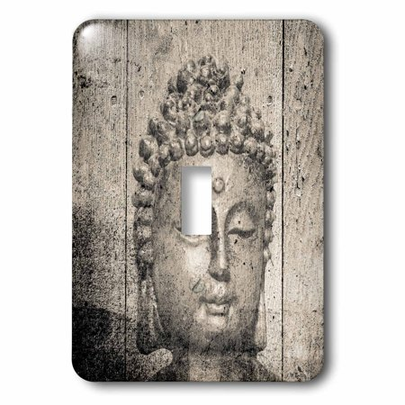 (3dRose Stone Grey Buddha Head Photograph Modern Decoration - Single Toggle Switch)
