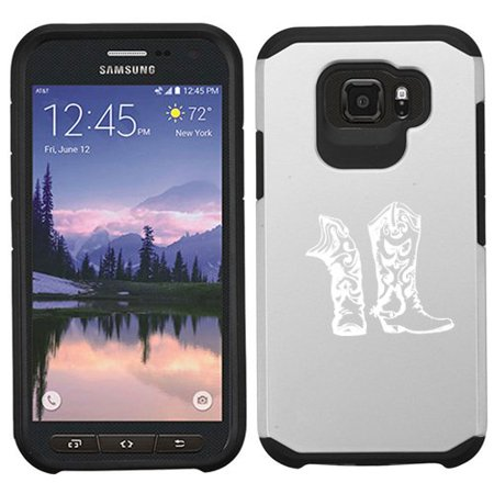 For Samsung Galaxy (S7 Active) Shockproof Impact Hard Soft Case Cover Cowboy Cowgirl Boots (Silver) - Silver Cowboy Boots