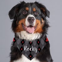 Black and Gray Heart Argyle Personalized Dog Bandana Collar Cover