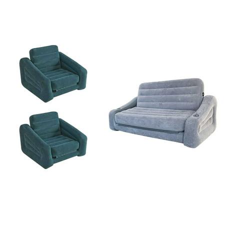 Intex Inflatable Pull-Out Sofa Queen Air Mattress & Chair Bed Sleeper (2 Pack)](Air Chairs)