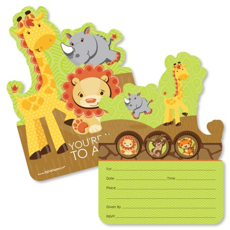 Funfari - Fun Safari Jungle - Shaped Fill-In Invitations - Baby Shower or Birthday Party Invitation - 12 Ct - Safari Themed Invitations