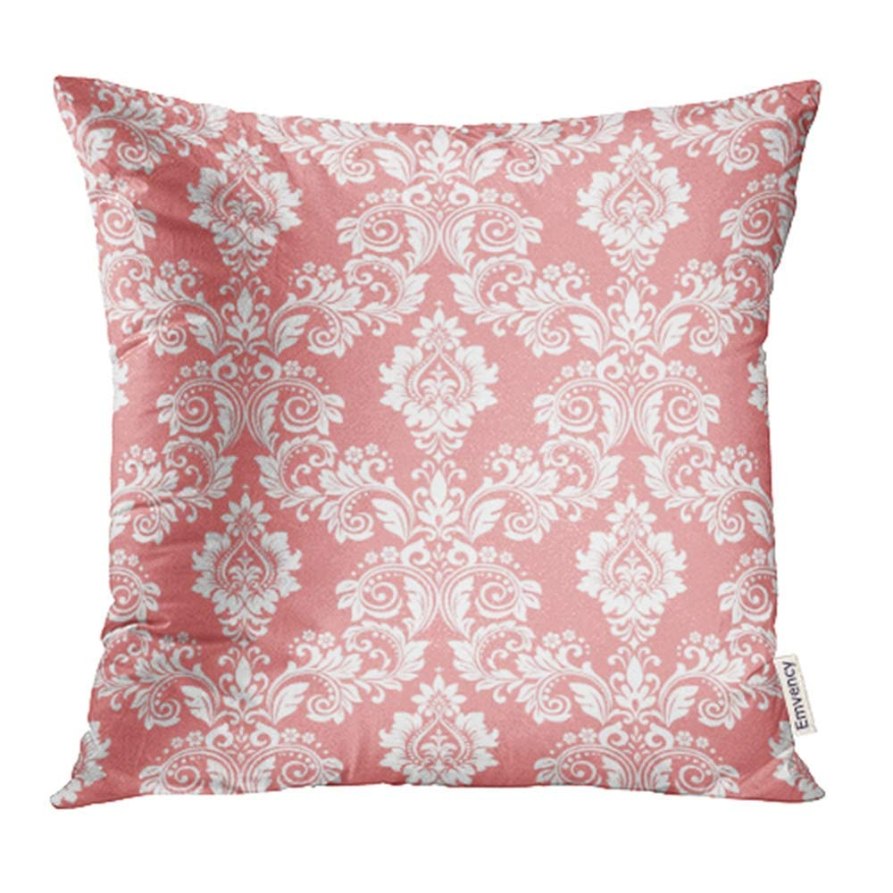 ARHOME Flower Floral Pattern Baroque Damask Pink and White Vintage Antique Curtains Pillowcase Cushion Cases 16x16 inch