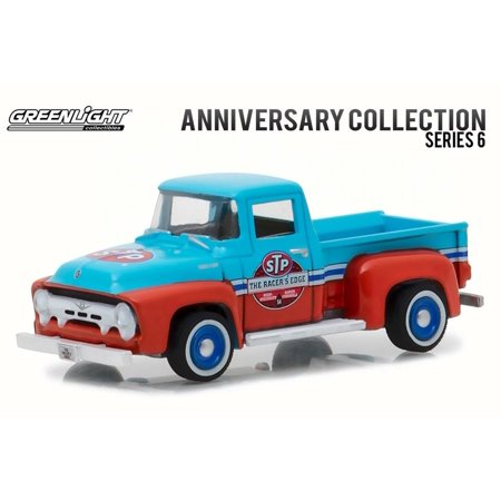 1954 Ford F-100 Truck STP 65th Anniversary, Blue w/ Red - Greenlight 27940A/48 - 1/64 Scale Diecast Model Toy Car