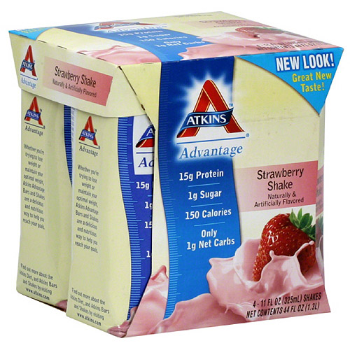 Atkins Strawberry Nutritional Shakes, 4 count, (Pack of 6)