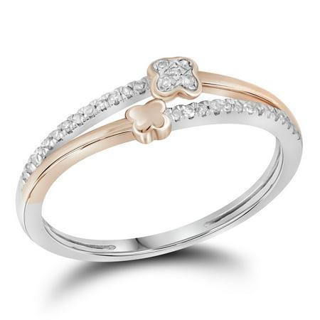 Size 7 - 10k White Gold Round Diamond Two Row Quatrefoil Band Ring (1/10 - Quatrefoil Flower Ring