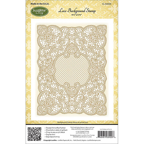 Justrite Papercraft CL03920 JustRite Papercraft Cling Background Stamp 4. 5''X5. 75''-Lace