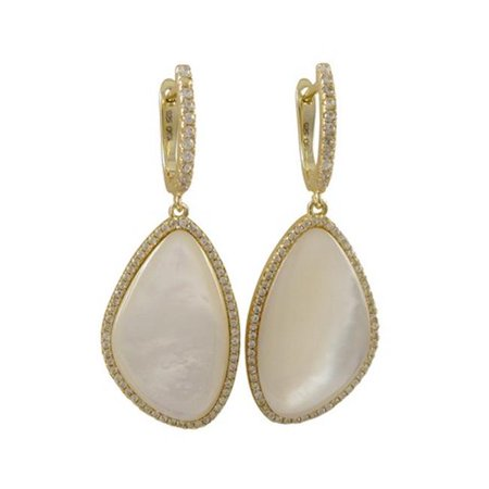 Dlux Jewels Mother Pearl Stone Cubic Zirconia Border & Gold Plated Sterling Silver Lever Back Earrings - image 1 of 1