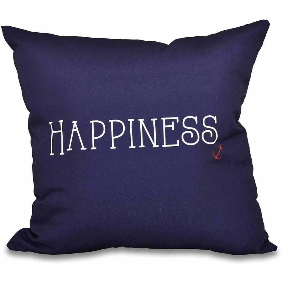 "Simply Daisy 16"" x 16"" Nautical Happiness Word Print Pillow"